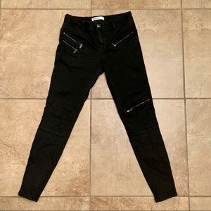 Zara Basic Z1975 Denim Black Moto Pants